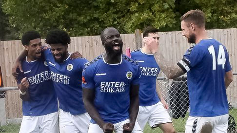 Dave Diedhiou celebrates his last-kick equaliser for St Albans City against Corinthian Casuals in the FA Cup.