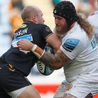 Exeter Chiefs player Harry Williams tackles Wasps player Dan Robson during the Gallagher Premiership