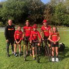Mid-Devon CC's long-distance travellers pictured at the National Cyclo-Cross Trophy meeting a Milnthorpe, Cumbria