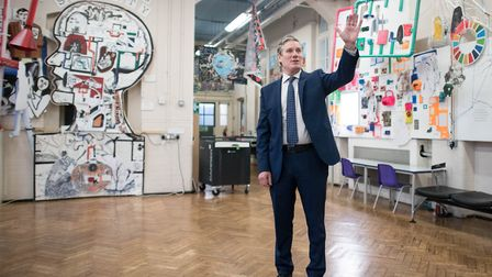 Labour Leader Keir Starmer visits Torriano School in Camden, north London. Photograph: Stefan Rousse