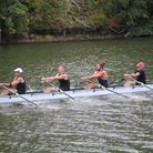 The Dart Totnes Men's quadruple sculls crew on their way to breaking the course record
