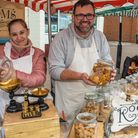 Confectioners Sam and Ashley Room at Nailsea Farmers Market.