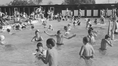 Happy Days - All ages enjoy the open air swimming pool at Lakenham in 1967