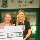 Pupils from Stanborough School'sStudent Council hand over cheque toBecky Clements of Young Lives vs Cancer