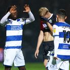 Queens Park Rangers' Osman Kakay (left) celebrates with goal scoring Ilias Chair (right) after the f