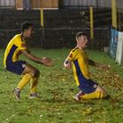 Huw Dawson celebrates his first St Albans City goal in the FA Cup win over Corinthian Casuals.