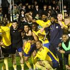 St Albans City celebrate their FA Cup penalty shoot-out win over Corinthian Casuals.