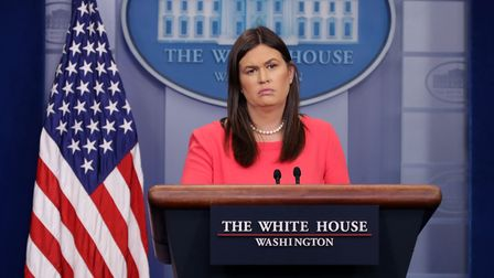 Formr White House press secretary Sarah Huckabee Sanders conducting the daily news conference in the