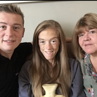Holly Butler with her supportive family during her anorexia treatment