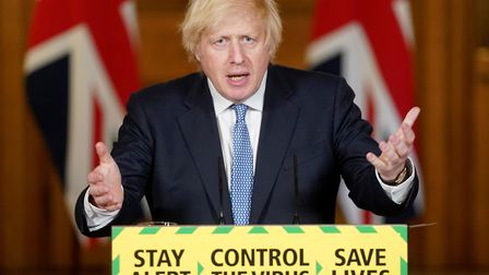 Boris Johnson during a media briefing in Downing Street, London, on coronavirus. Photograph: Pippa F