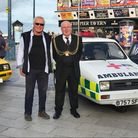 Numball Rally's Andy Harding with Great Yarmouth mayor, Adrian Thompson.