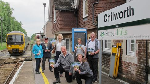the Surrey Hills Society launch the Rail to Ramble scheme at Chilworth Railway Station