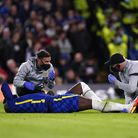 Chelsea's Romelu Lukaku receives treatment for an injury during the UEFA Champions League, Group H m