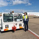 Tees Valley Mayor Ben Houchen at Teesside Airport with an aircraft tug