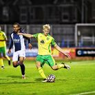 Saxon Earley in action for Norwich City U23s against West Brom at The Walks