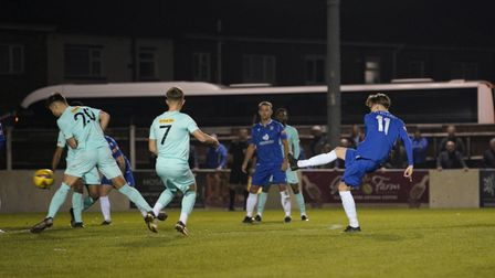 Shirley D Whitlow's photograph of Lowestoft Town FC v Royston Town. Sam Johnson