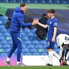 Chelsea manager Thomas Tuchel (left) and Chelsea's Billy Gilmour after the final whistle during the