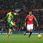 Alexander Tettey of Norwich scores his sides 2nd goal during the Barclays Premier League match at Ol