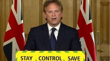 Grant Shapps at the latest daily press briefing in Downing Street. Photograph: BBC.