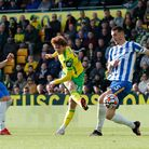 Josh Sargent of Norwich has a shot on goal during the Premier League match at Carrow Road, Norwich