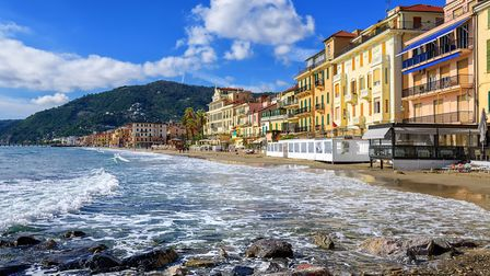 Mediterranean beach in touristic town Alassio on italian Riviera, Italy; GETTY: XANTANA