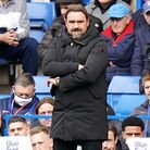 Norwich City manager Daniel Farke looks on during the Premier League match at Stamford Bridge, Londo