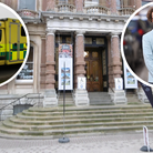 Ipswich Town Hall steps; inset left stock picture of an ambulance; inset right Councillor Sarah Barber