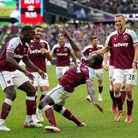 West Ham United's Michail Antonio celebrates scoring their side's first goal of the game during the