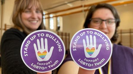 Rebecca Greef and Lou Tye wore purple to support their LGBTQ+ students.