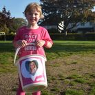 Mabel Shields, aged five, runs the Race for Life in Gorleston in memory of her aunt Leanne Shields.
