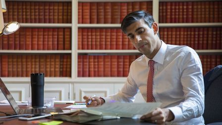 Chancellor of the Exchequer Rishi Sunak preparing the Economic Update he will present to Parliament.