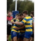Clevedon RFC celebrate Danny Harris' try againstGloucester Spartans.