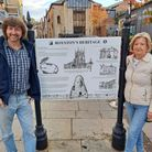 Artist and trustee Martin Kaszak with Royston and District History Society chair Rosemary Bateman at the new sign