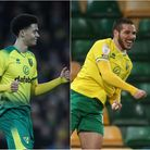 Former Norwich City players, from left, Jamal Lewis, Emi Buendia and Ben Godfrey