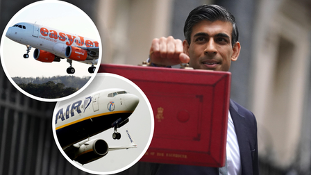 Rishi Sunak with his 'red box' on Downing Street, London; Insets: An easyJet plane and a Ryanair plane