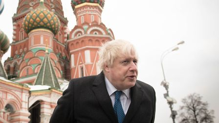 Boris Johnson as foreign secretary during a visit to Red Square in Moscow. Photograph: Stefan Rousse