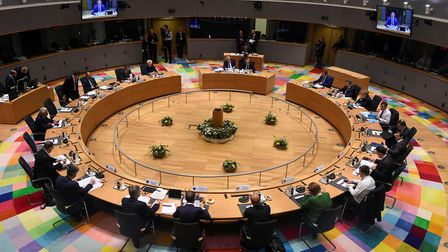 Heads of state attend a summit of European Union (EU) leaders at the European Council headquarters i