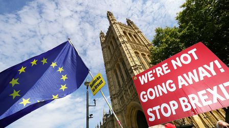 Anti-Brexit protesters outside the Houses of Parliament. Photograph: Aaron Chown/PA.