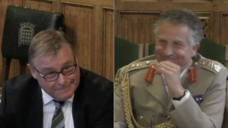 Mark Francois (left) and army general Nick Carter (right). Photograph: Parliament TV.