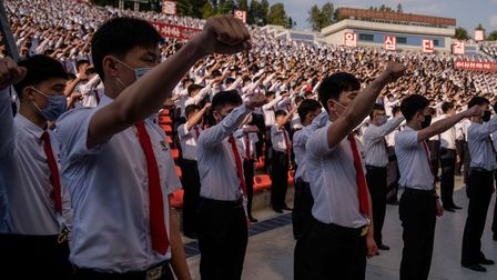 Students and youths attend a mass gathering denouncing 'defectors from the north', at the Pyongyang