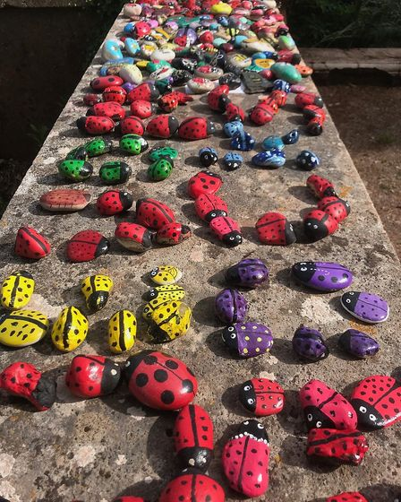 Some of the thousands of painted stones on display in Oldway gardens