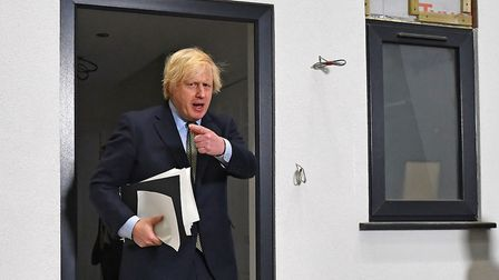 Prime Minister Boris Johnson during a visit to Dudley College of Technology in Dudley. Photograph: P