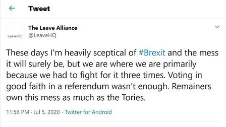 The Leave Alliance used Twitter to blame Remainers for Brexit; Twitter