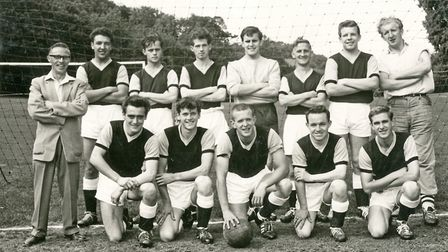 Ilsham Vale FC - back from left, Les Collier (manager), Bob Westcott, Mervyn Collier, Keith Jackson, Dick Kneath, Maurice...