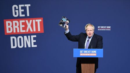 Boris Johnson at the launch of his party's election manifesto in Telford. Photograph: Stefan Roussea