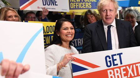 Prime Minister Boris Johnson and Home Secretary Priti Patel during a members rally held at property