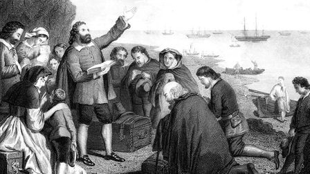 Embarkation of the Pilgrim Fathers (1620), an updated print depicting the Pilgrim Fathers' from Delf