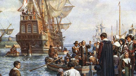 Pilgrim Fathers boarding the Mayflower (c.1754) after painting by Bernard Gribble. Picture: Getty Im