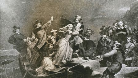 The Landing of the Pilgrims at Plymouth Rock. Engraving after an 1854 painting by Rothermel. Picture