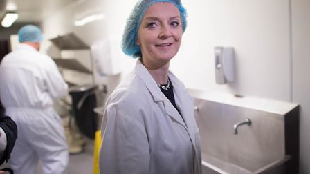 Liz Truss visits to the Fruit pig company, Wisbech, to make the case for Brexit. Photograph: Stefan